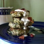 Southern Falafels with Buttermilk Ranch Dressing stacked on a blue plate with a fork