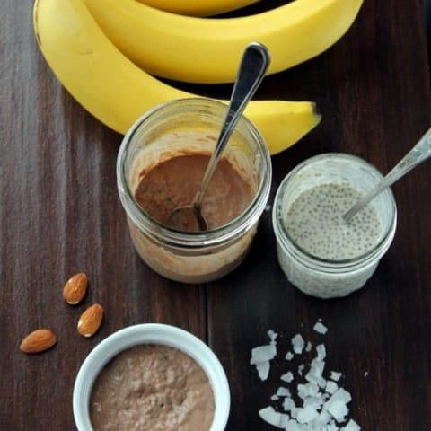 Overhead of Chocolate Chia Seed Pudding process picture