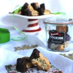 chocolate dipped biscotti on a festive napkin