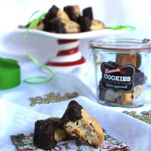 Dark Chocolate Salted Caramel Almond Biscotti #fbcookieswap taketwotapas.com
