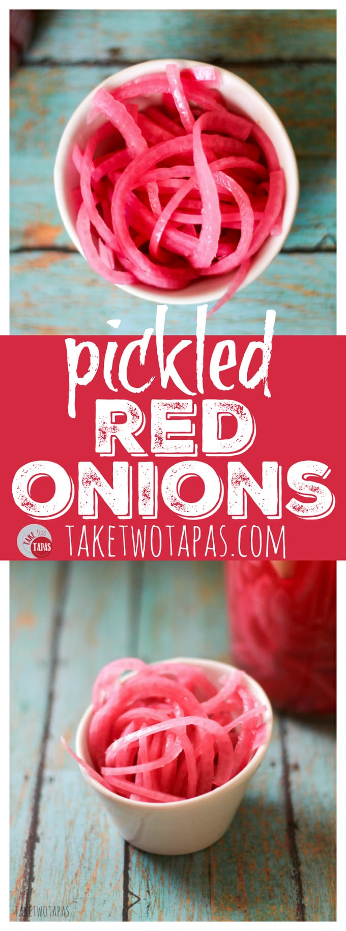 Pickled Red Onions from Take Two Tapas | #Pickled #RedOnion #Onion #BBQ #Condiment