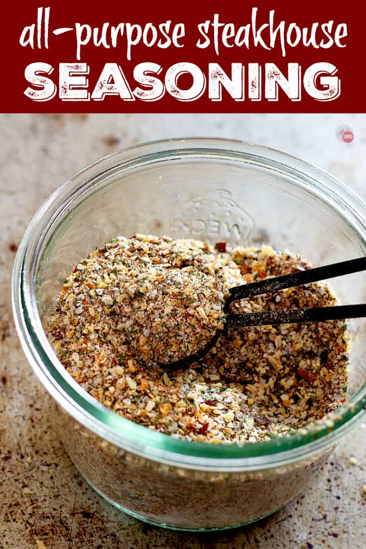 All Purpose Steak Seasoning for more than just steak! Scoop out some and put it on veggies and chicken! Pinterest Image