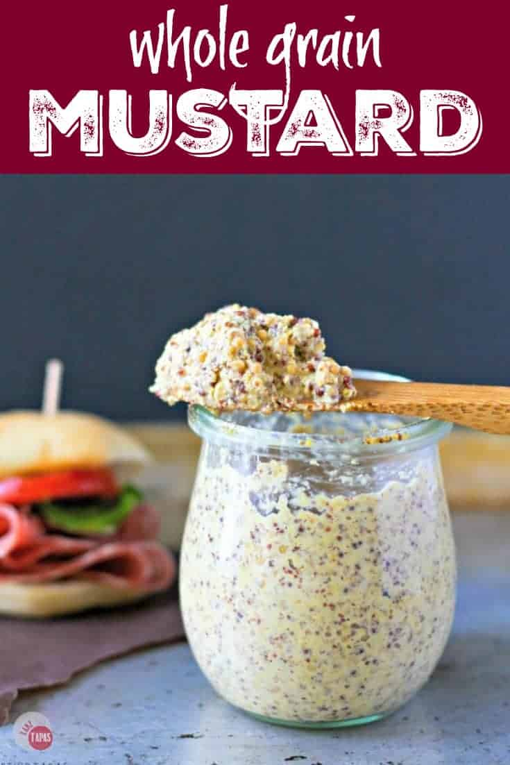 Tangy Homemade Whole Grain Mustard Recipe | Take Two Tapas | #Homemade #WholeGrain #Mustard #MustardSeeds #Pickled