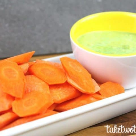 Sweet Pea Dip With Carrot Chips | taketwotapas.com