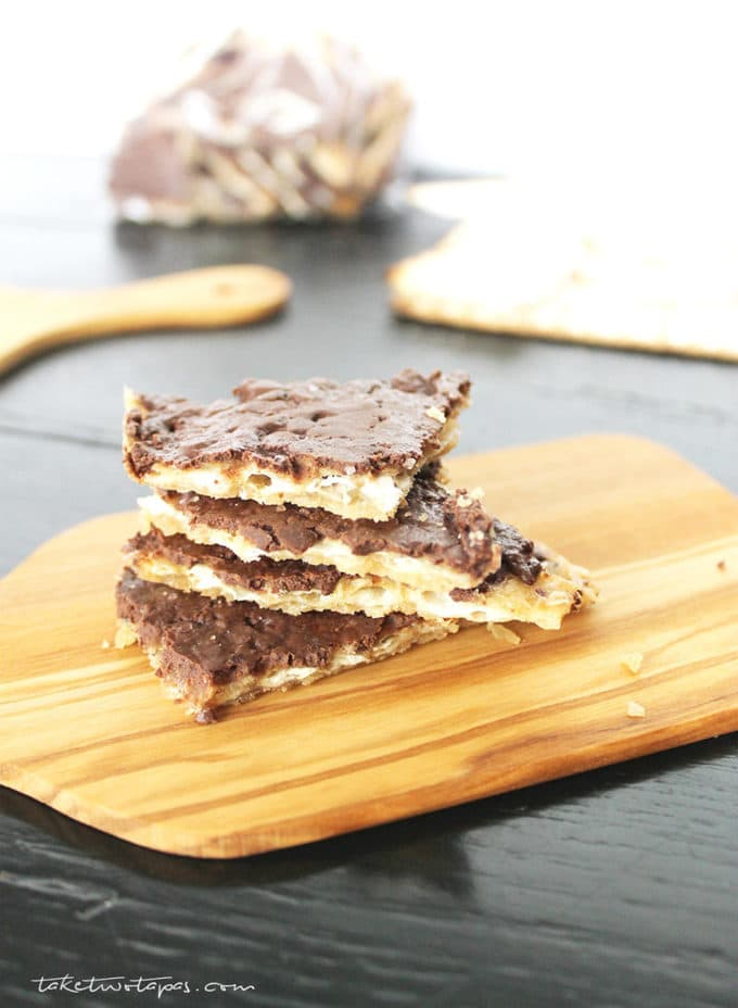 Matzoh Candy stacked on a cutting board
