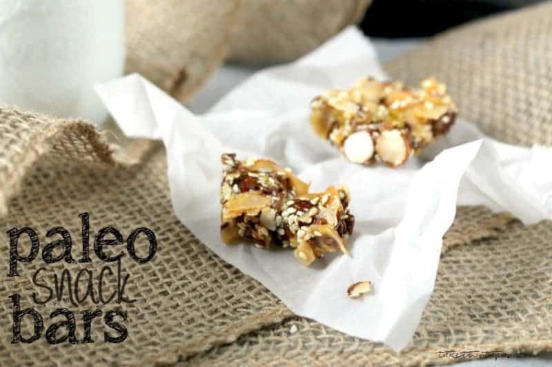 Paleo Snack Bar with a bite out of it on parchment paper and text