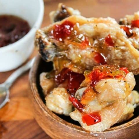 close up of Crispy Chicken Wings with Four Pepper Jelly