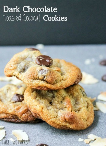 I love cookies and these are elevate with dark chocolate and crispy toasted coconut that will remind you of a candy bar! Dark Chocolate Toasted Coconut Cookies Recipes | Take Two Tapas