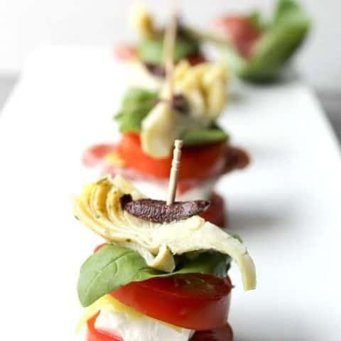 Mediterranean Salad Stacks on a white platter