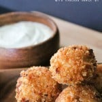 "Southwest Risotto Balls text ""southwest risotto balls with avocado ranch dip"""