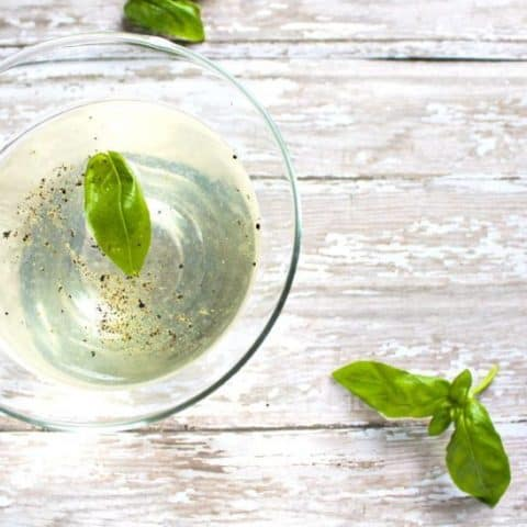 close up of Basil Martini with Lime and Black Pepper