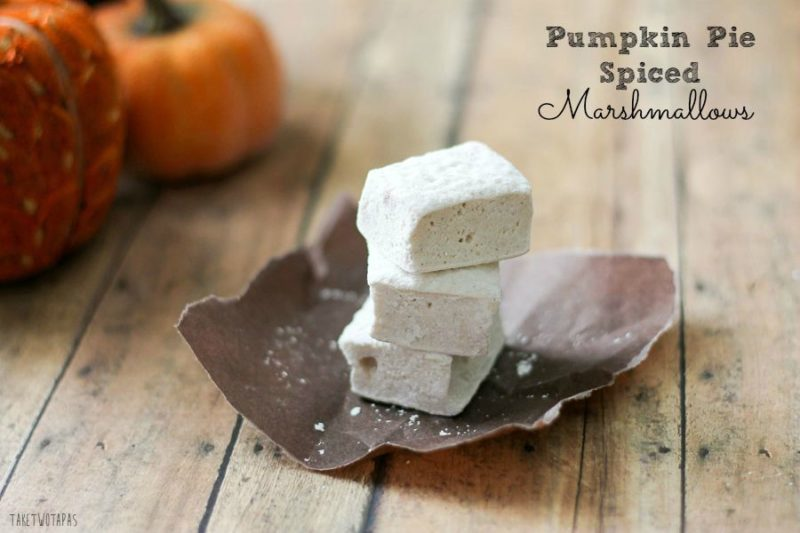 """Pinterest image with text """"Pumpkin Pie Spice Marshmallows"""""""