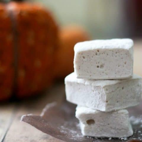 Side view of Pumpkin Pie Spice Marshmallows stacked on a napkin