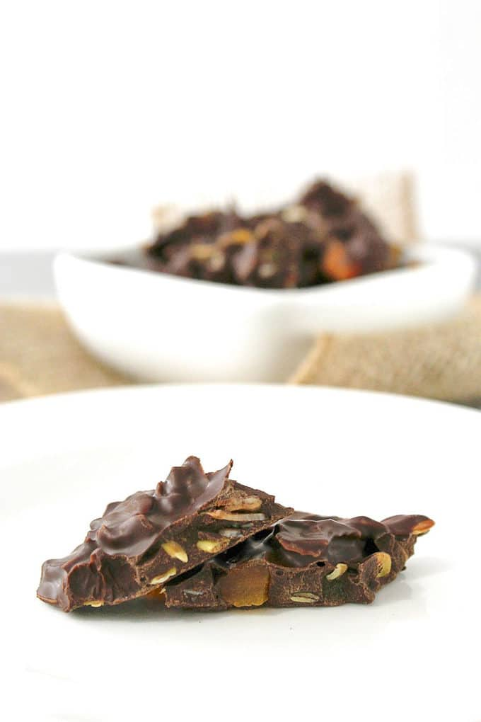 Delicious Snacking Chocolate Bark | Take Two Tapas | #Snack #Chocolate #Bark #DriedFruit