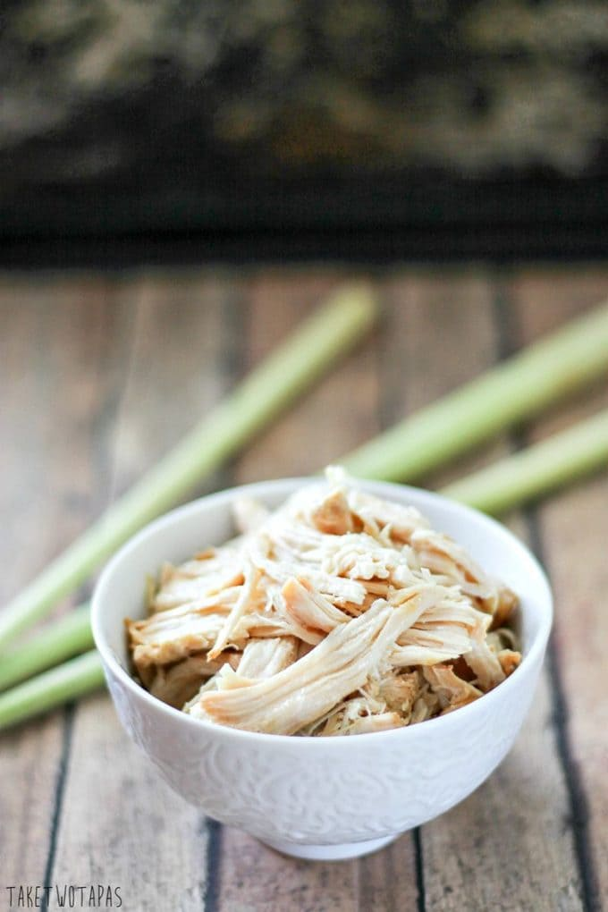 Prepare slow cooker lemongrass chicken with minimal effort and have lots of shredded meat on hand for your next recipe. This chicken has a hint of garlic and the subtle flavor of citrus thanks to the lemongrass! Slow Cooker Lemongrass Chicken Recipe | Take Two Tapas
