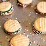Peppermint Sandwich Cookies on a table
