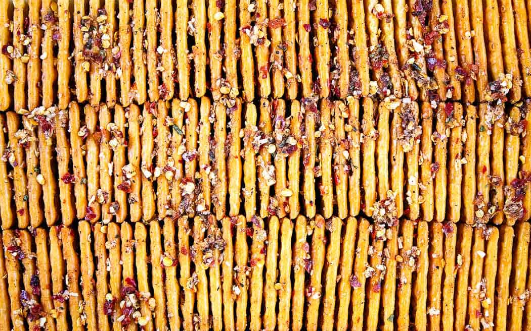 overhead picture of crackers in a storage container