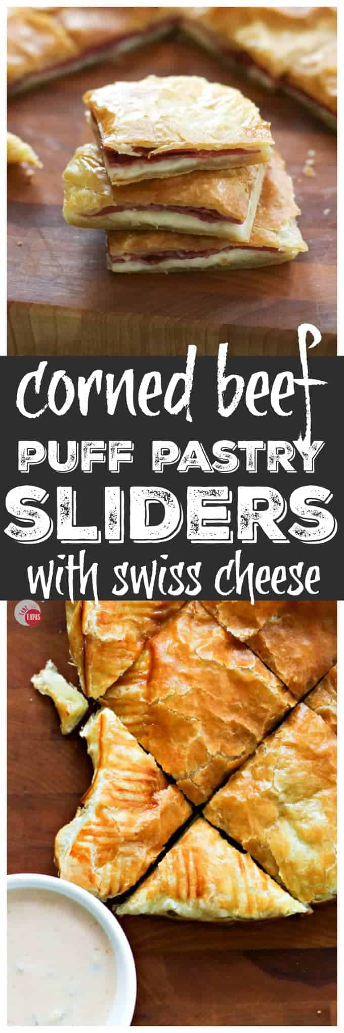 Corned Beef Swiss Cheese Puff Pastry Sliders | Take Two Tapas | #CornedBeef #PuffPastry #Sliders #StPatricksDay