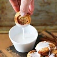 Puff Pastry Cinnamon Roll Bites with Vanilla Glaze