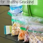 "snacks in baggies and a bottle of water with text ""Multi-task your cereal for healthy snacking"""