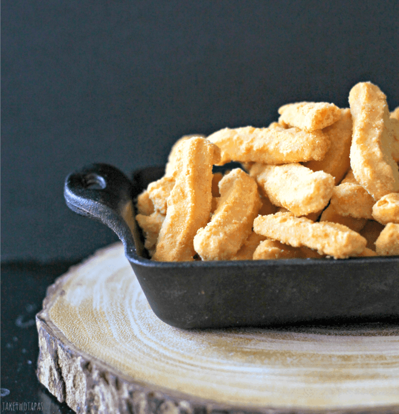 Pimento Cheese Straws in a cast iron pan