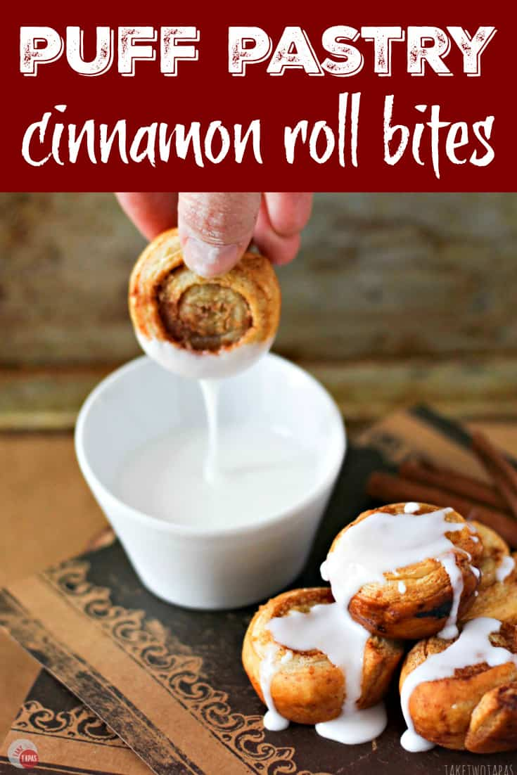 Puff Pastry Cinnamon Roll Bites | Take Two Tapas | #PuffPastry #CinnamonRolls #Breakfast