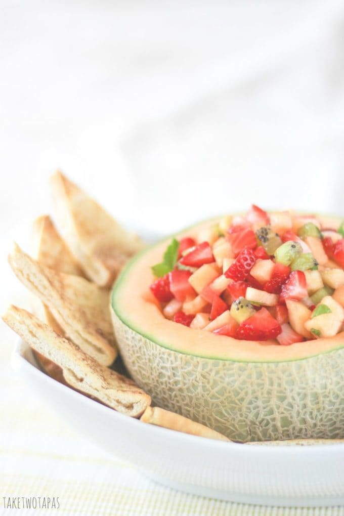 cantaloupe with fruit in it