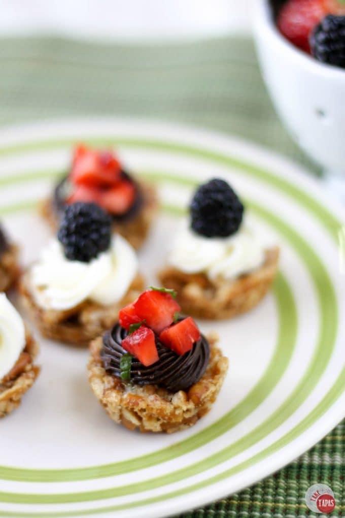 Strawberry Pretzel Stacks on a white striped plate