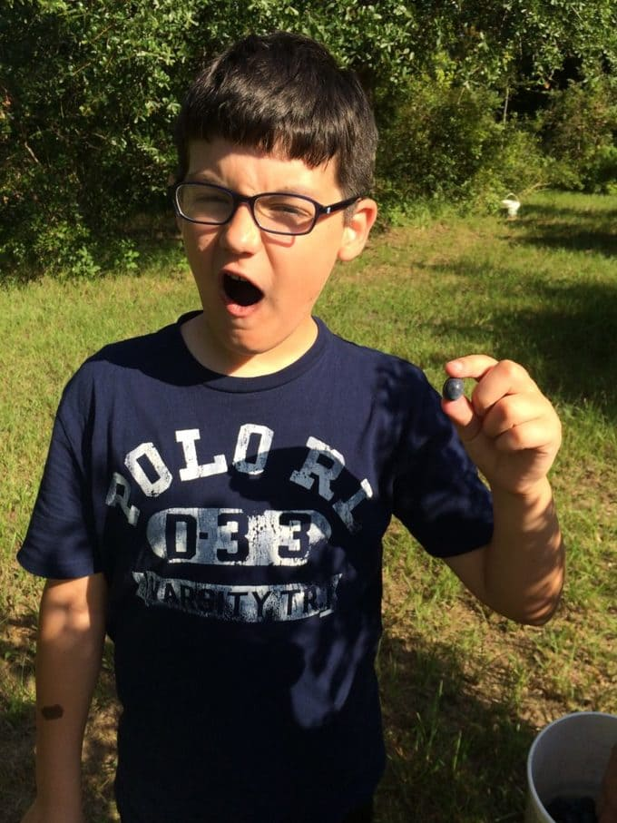 Braxton showing a large blueberry