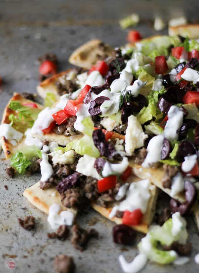 close up of Greek Gyro Nachos