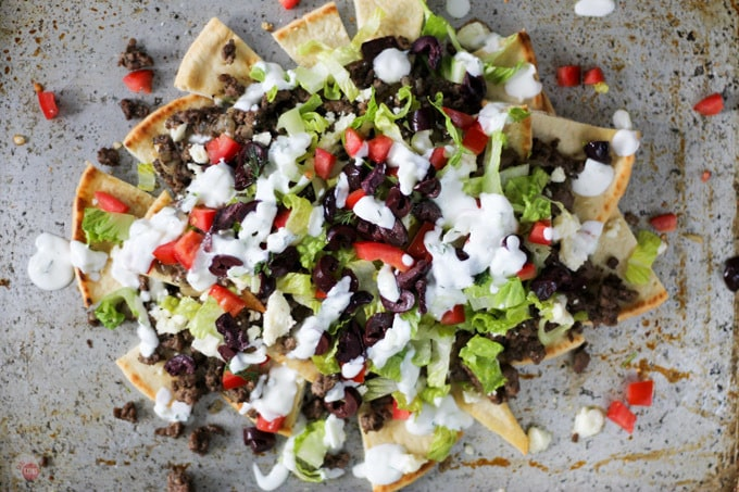 overhead picture of Greek sheet pan nachos