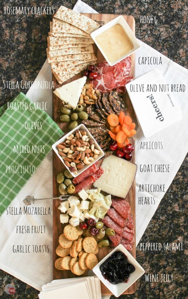 Antipasto Cheese Board for Summer Tapas Entertaining | Take Two Tapas | #SummerEntertaining #EasyEntertaining #CheeseBoardIdeas #CheeseBoardDisplay #Antipasto #Tapas #CheeseBoard #CheesePlatterIdeas