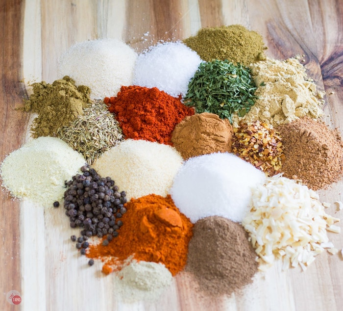 jerk spice ingredients on a cutting board