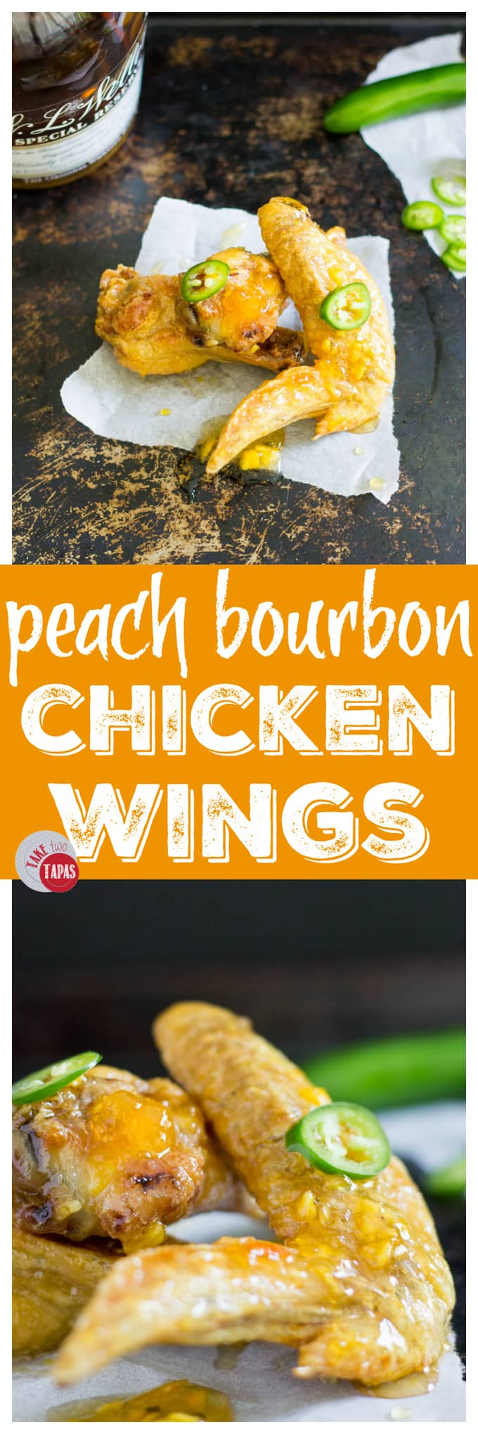 Peach Bourbon Chicken Wings | Take Two Tapas | #Peach #Bourbon #ChickenWings #ChickenWingFlavors #ChickenWingSauces #Spicy