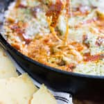 Extra Cheesy Pepperoni Pizza Skillet Dip with thin crust crackers | Take Two Tapas | #PizzaDip #SkilletDip #PepperoniDip #DipRecipe #OnePot #HotDipRecipe