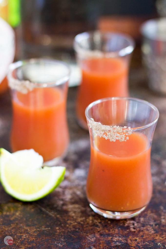 Bloody Mary shots are a great way to enjoy your favorite Brunch cocktail but in a smaller version! Bloody Mary Shots Recipe | Take Two Tapas | #BloodyMary #Shots #Cocktails