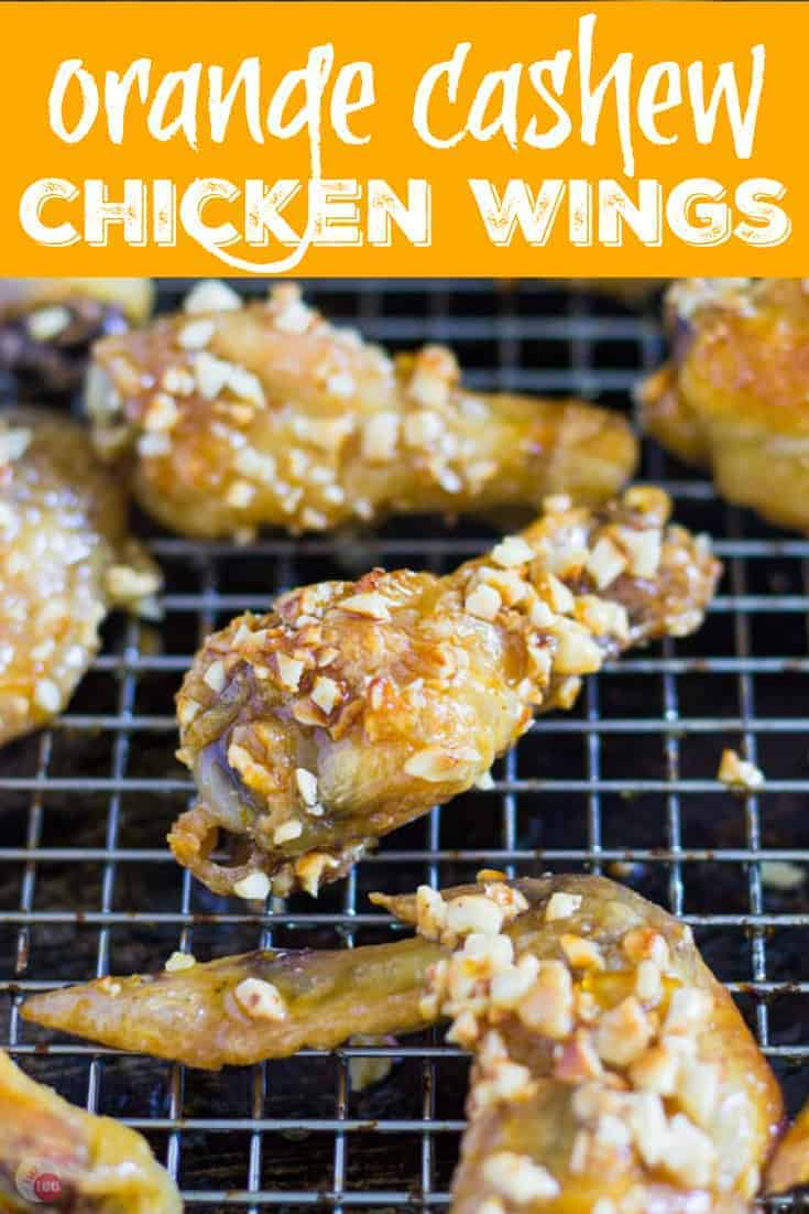 "Pinterest image with text ""orange cashew chicken wings"""
