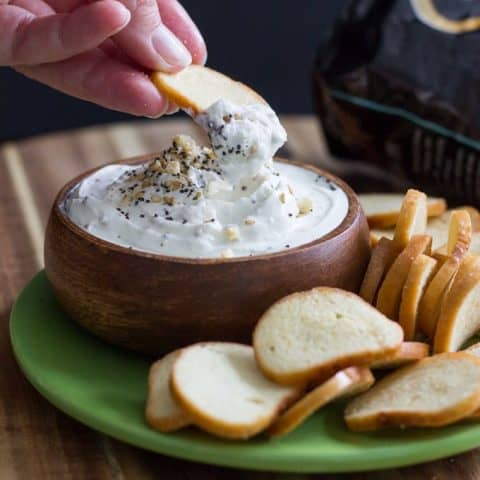 Everything Bagel Dip with Bagel Chips