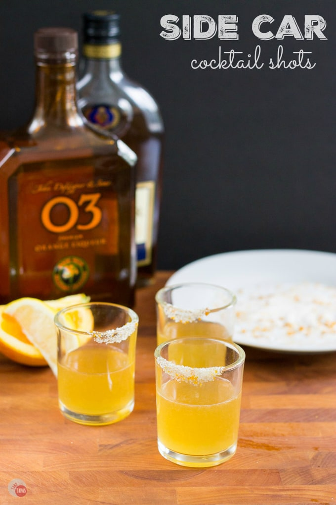The Sidecar is a cocktail that combines cognac, orange liqueur, and lemon juice for a sophisticated drink. Try this classic cocktail in a smaller version with a sugared rim! Sidecar Cocktail Shot Recipe   Take Two Tapas