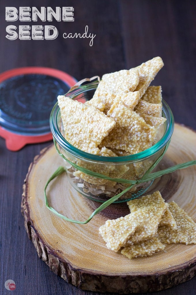 This buttery benne brittle candy is filled with toasted benne seeds (sesame) and is made right in your microwave in less than 10 minutes! Ma's Benne Seed Brittle Candy Recipe | Take Two Tapas | #BenneSeed #SesameSeeds #brittle #BenneBrittle #BenneCandy