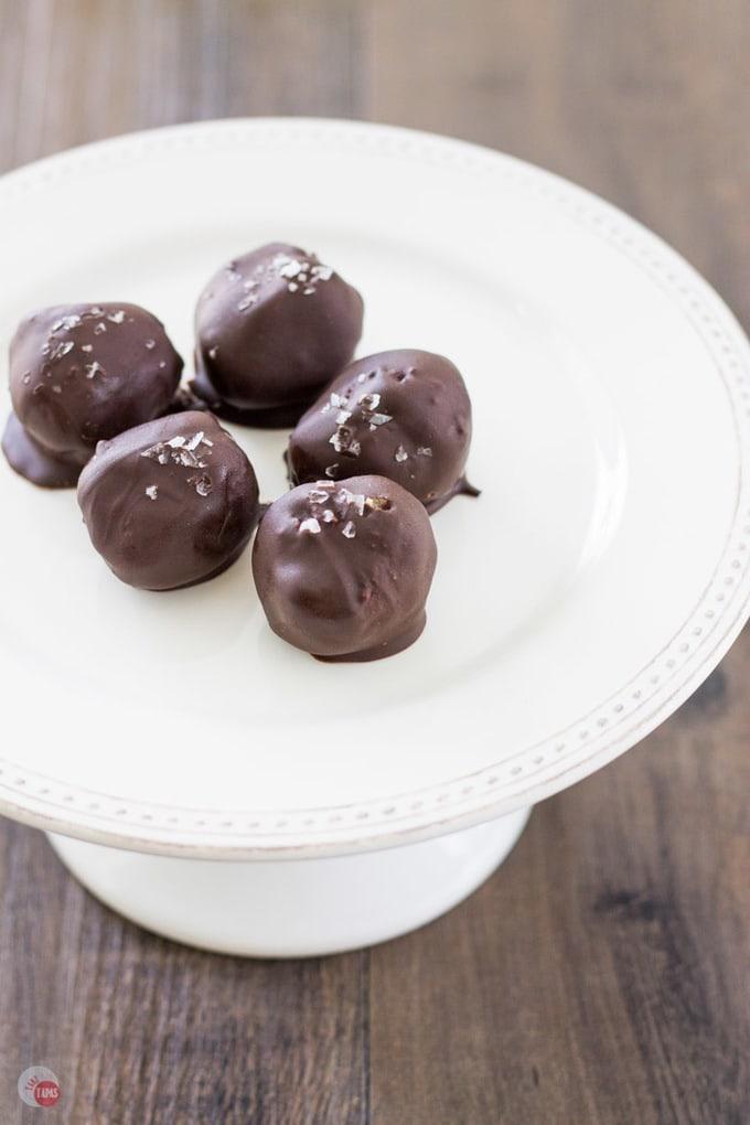 Dark chocolate truffles with peanut butter and honey crackers! | Take Two Tapas | #TruffleRecipe #truffles #Crackers #PeanutButter #Honey