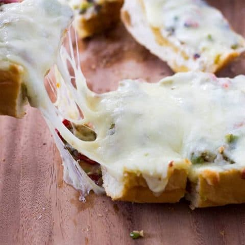 Cheesy Olive Salad French Bread Appetizer