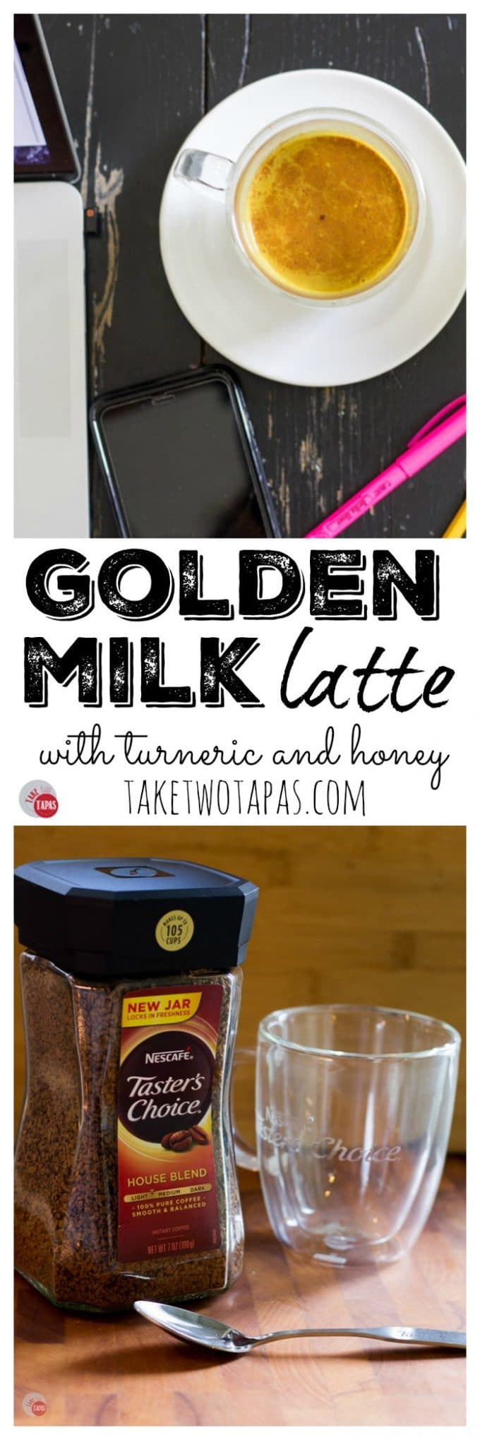 """Pinterest collage image with text """"golden milk latte with turmeric and honey"""""""