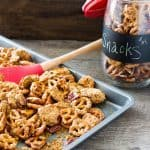 Step up your snack game with pretzels and pecans covered in a crispy caramel coating that is addicting! You will be asked back when you bring these crack pretzels as a hostess gift for sure! Crispy Caramel Crack Pretzels Recipe | Take Two Tapas