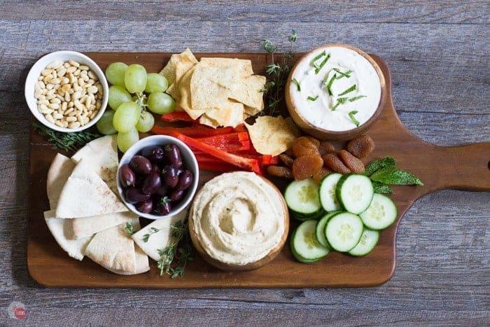 Overhead of Mediterranean Tapas Hummus Meze Platter
