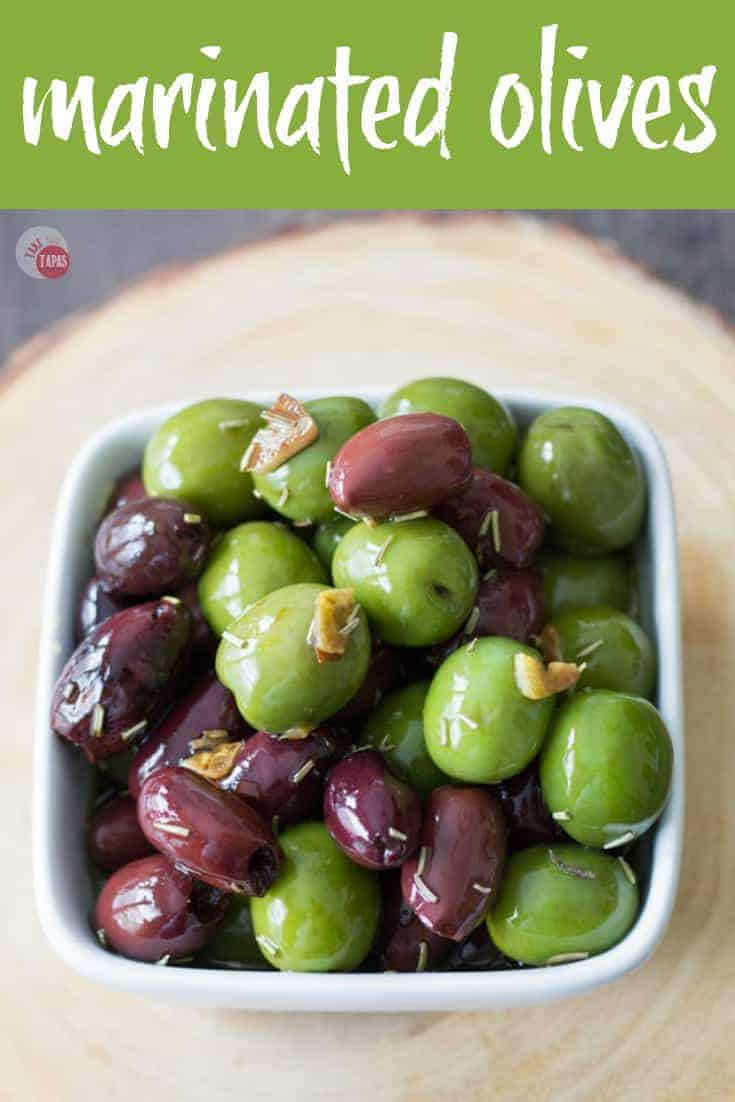 Perfect for your cheese board, these Marinated Olives are super easy to make! | Take Two Tapas | #MarinatedOlives #Olives #OliveRecipe #CheeseBoardFoods #CheeseBoardOlives