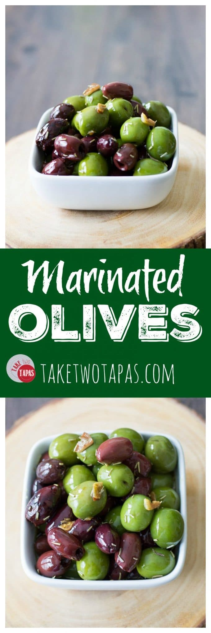 "Pinterest collage image with text ""marinated olives"""
