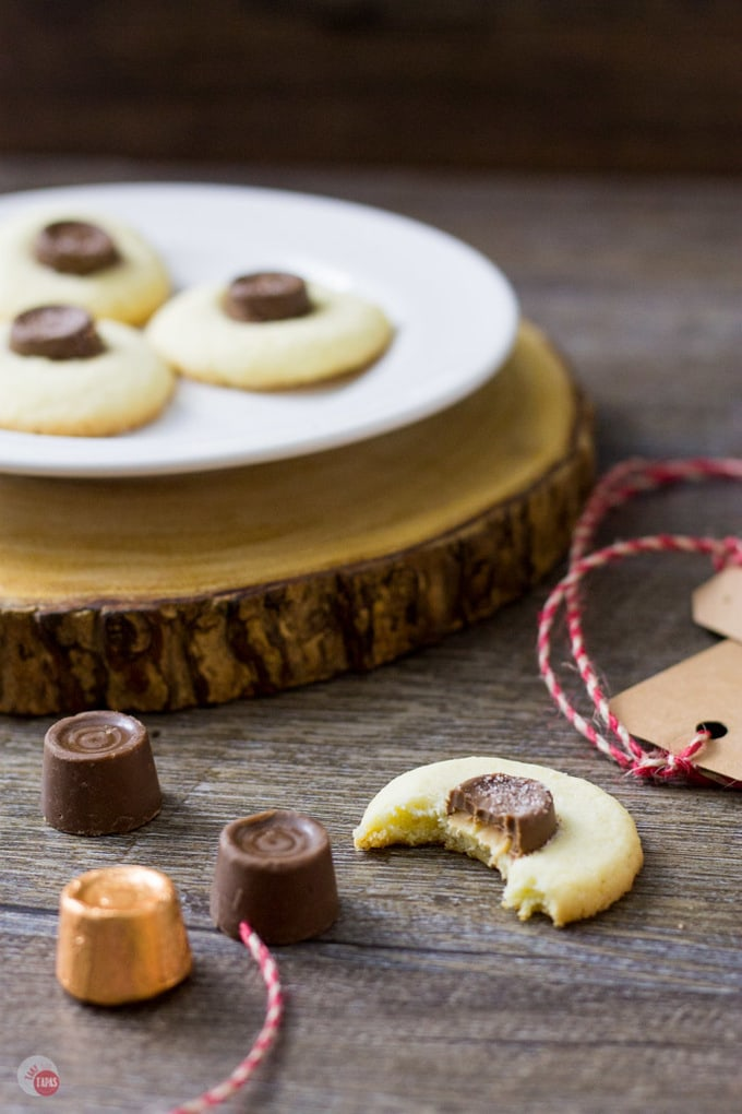 Salted Rolo Thumbprint Cookie Recipe | Take Two Tapas | #RoloCandy #ThumbprintCookies #CookieRecipe #Salted #Chocolate #Caramel #CookieExchangeRecipe