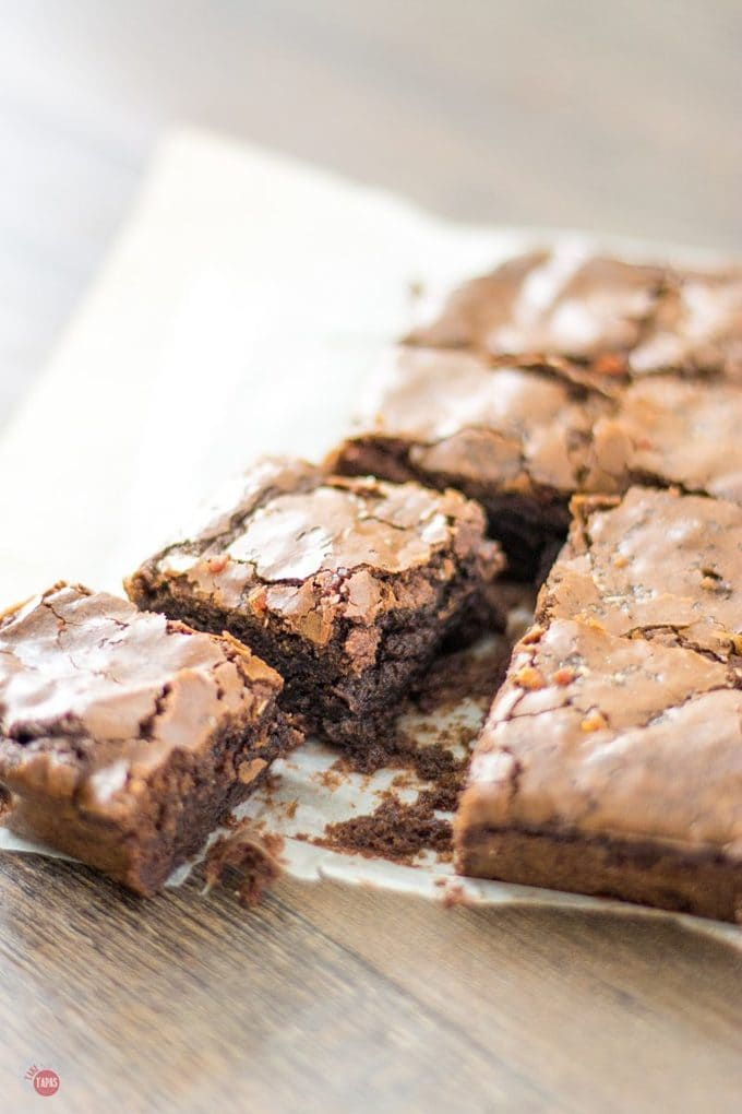 When you can't figure out what to eat when you are craving something sweet, salty, chocolate, AND has bacon in it, make a batch of my Bacon Salt Brownies! It hits all your cravings right in the mouth! Bacon Salt Brownies   Take Two Tapas   #BaconSalt #Bacon #Brownies #BaconSaltBrownies #BrownieRecipes