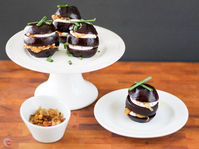 Assemble a gorgeous appetizer or salad course of pickled roasted beet napoleons with goat cheese and caramelized shallots. Make everything ahead of time and wow your guests when it's time to eat! Pickled Beet Napoleons Recipe   Take Two Tapas